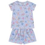 Conjunto Pijama Infantil De Menina Verão Blusa + Short Azul Coelhinho