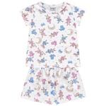 Conjunto Pijama Infantil De Menina Verão Blusa + Short Branco Coelhinhos