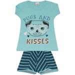 Conjunto Infantil Menina Blusa Pugs Azul e Short Listrado
