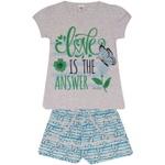 Conjunto Infantil Menina Blusa Love Is e Short Estampado Azul