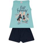 Conjunto Infantil Menina Blusa Roll Forward Azul e Short Marinho