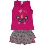 Conjunto Infantil Menina Blusa Roxa Panda e Short Estampado Pandinhas