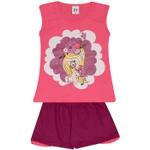 Conjunto Infantil Menina Blusa Pink Menina Com Unicórnio e Short