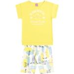 Conjunto Infantil Menina Blusa + Bermuda Cotton Amarelo