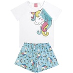 Conjunto Pijama Infantil Verão Menina Unicórnio