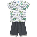 Conjunto Infantil Menino Camiseta Branca Express Yourself Verde e Bermuda