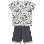 Conjunto Infantil Menino Camiseta Cinza Express Yourself Vermelha e Bermuda