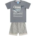 Conjunto Infantil Verão Menino Camiseta Cinza Ocean Baleia e Short Moletinho
