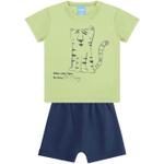 Conjunto Bebê Menino Blusa Tigre Verde Neon + Bermuda Moletinho