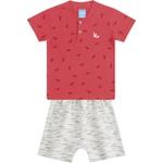 Conjunto Infantil Verão Menino Camiseta Vermelha Dinossauros e Short Moletinho