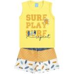 Conjunto Infantil Verão Menino Regata Amarela Play e Bermuda Pranchas