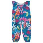Macacão Infantil De Menina Floral Azul