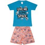 Conjunto Infantil Verão Menino Camiseta Azul Space e Bermuda Laranja