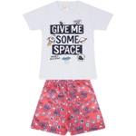 Conjunto Infantil Verão Menino Camiseta Branca Space e Bermuda Laranja