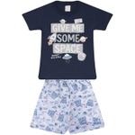Conjunto Infantil Verão Menino Camiseta Marinho Space e Bermuda Cinza