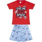 Conjunto Infantil Verão Menino Camiseta Vermelha Space e Bermuda Azul Clara