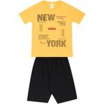 Conjunto Infantil Verão Menino Camiseta Amarela New York e Bermuda Preta