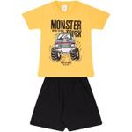 Conjunto Infantil Verão Menino Camiseta Amarela Monster Truck e Bermuda Preta