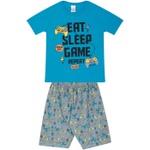Conjunto Infantil Verão Menino Camiseta Azul Game e Bermuda Cinza