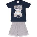 Conjunto Infantil Verão Menino Camiseta Marinho Monster Truck e Bermuda Cinza