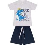 Conjunto Infantil Camiseta Cinza Dinossauro Rockstar e Bermuda Marinho