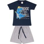 Conjunto Infantil Camiseta Marinho Dinossauro Rockstar e Bermuda Cinza