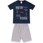 Conjunto Infantil Verão Menino Camiseta Marinho New York e Bermuda Cinza