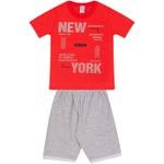 Conjunto Infantil Verão Menino Camiseta Vermelha New York e Bermuda Cinza