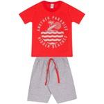 Conjunto Infantil Verão Menino Camiseta Vermelha Paradise e Bermuda Cinza