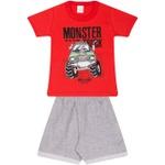 Conjunto Infantil Verão Menino Camiseta Vermelha Monster Truck e Bermuda Cinza