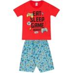 Conjunto Infantil Verão Menino Camiseta Vermelha Game e Bermuda Azul