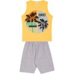 Conjunto Infantil Verão Menino Regata Amarela Sunset e Bermuda Cinza