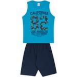 Conjunto Infantil Verão Menino Regata Azul Los Angeles e Bermuda Marinho