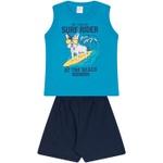 Conjunto Infantil Verão Menino Regata Azul Dog Surfista e Bermuda Marinho