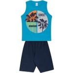 Conjunto Infantil Verão Menino Regata Azul Sunset e Bermuda Marinho