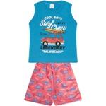 Conjunto Infantil Verão Menino Regata Azul Surf e Bermuda Fusca Vermelha