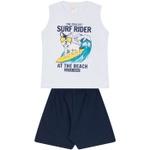 Conjunto Infantil Verão Menino Regata Branca Dog Surfista e Bermuda Marinho