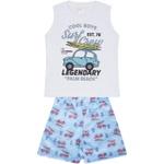 Conjunto Infantil Verão Menino Regata Branca Surf e Bermuda Azul Claro
