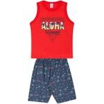 Conjunto Infantil Verão Menino Regata Vermelha Aloha e Bermuda Havaí Marinho