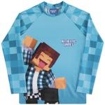 Camiseta Infantil Manga Longa Menino Com Proteção Uv 50 Azul Authentic Games Minecraft