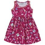 Vestido Infantil Fakini Menina Com Alças e Estampa Maquiagem Pink