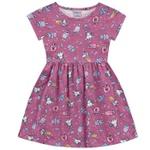 Vestido Infantil Fakini Menina Manga Curta Com Estampa Unicórnios Rosa