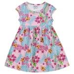 Vestido Infantil Fakini Menina Manguinha Com Estampa Floral Rosa Claro