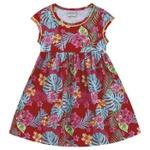 Vestido Infantil Fakini Menina Manguinha Com Estampa Floral Vermelho