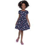 Vestido Infantil Fakini Menina Manga Curta Com Estampa Unicórnios Azul Marinho