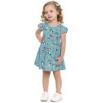 Vestido Infantil Fakini Menina Manga Curta Babadinho Com Estampa Unicórnios Azul Claro