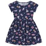 Vestido Infantil Fakini Menina Manga Curta Com Estampa Unicórnio Azul Marinho
