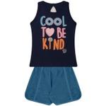 Conjunto Infantil Verão Menina To Be Kind Azul Marinho