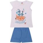 Conjunto Infantil Menina Verão Blusa Branca + Short Azul Happy Summer