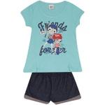 Conjunto Infantil Menina Blusa Friends Gatinhas Azul e Short Marinho